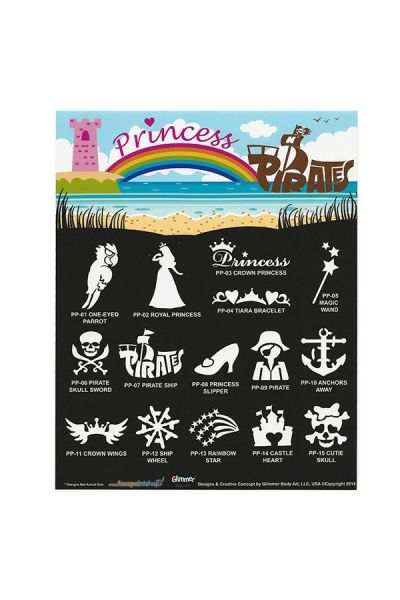 Glimmer Princess & Pirates Stencil Set met poster