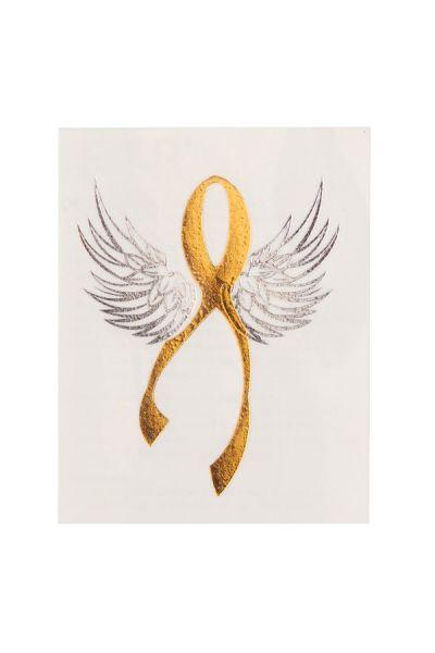 Ribbon Of Hope Glimmer Metallic Jewelry Tattoos Small