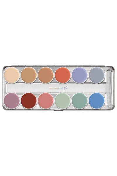 Kryolan P Supracolor Greasepaint Palette 12 kleuren.