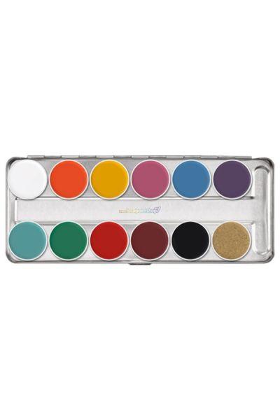 Kryolan FP Supracolor Greasepaint Palette 12 kleuren.