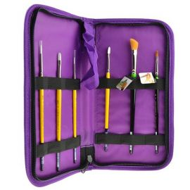 Brush Carrier  Durable, colorful canvas accessories designed to compliment our Crafter's Choice brush line. The Keep N' Carry™ is constructed using durable canvas to help store and protect your brushes with easy portability and zip closure. Colors may v