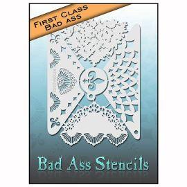 Bad Ass First Class Flur de lis Stencil