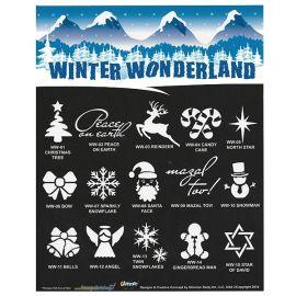 Glimmer Winter Wonderland Stencil Set with poster