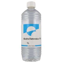 Alcohol Ketonatus 70% 1 Ltr  Alcohol Ketonatus 70% is een desinfectans voor het grondig reinigen en ontsmetten van de gesloten huid, voor kleine oppervlakken en voor instrumenten in de beauty- en gezondheidszorg.