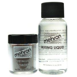 Mehron Metallic Powder Zilver With Mixing Liquid