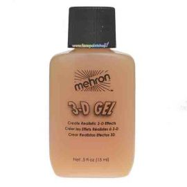 Mehron 3-D Gel  3-D Gel is used to create realistic three dimensional special effect additions to a character's makeup. To use the 3-D Gel just heat it to a liquid form, brush on, allow curing, and carve it up to your delight. There is no adhesive neede