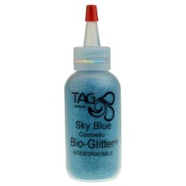 Tag Cosmetic Bio-glitte Sky Blue is based on biodegradable film made from trees, primarily eucalyptus, sourced from responsibly managed plantations.
