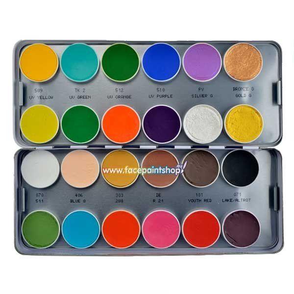 Kryolan Aquacolor MF Basicpalette 24 Colors