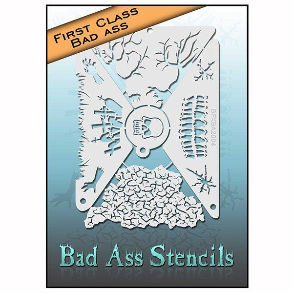 Bad Ass First Class Skull Stencil