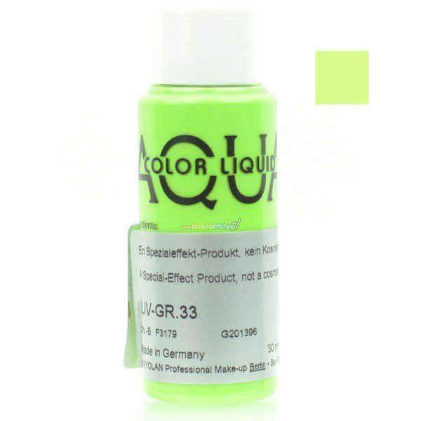 Kryolan Aquacolor Liquid Uv Color Light Green Gr 33