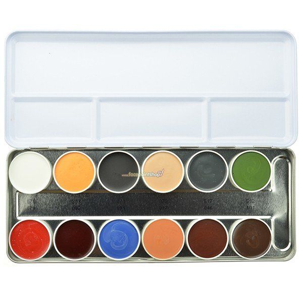 Kryolan Rubber Mask Grease Palette 12 Colors (21568)