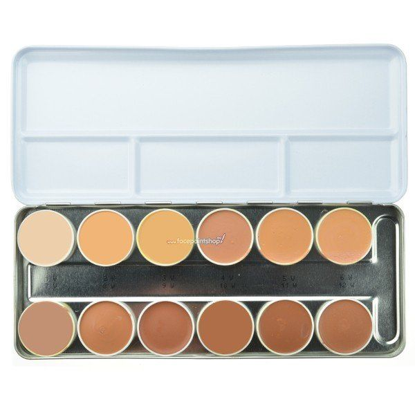 Kryolan Rubber Mask Grease Palette 12 Colors
