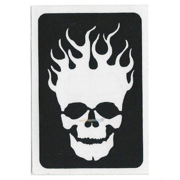Glittertattoo Sjabloon Skull Flame (5 pack)
