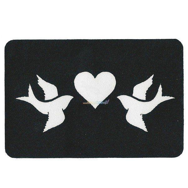 Glittertattoo Stencil Heart Doves (5 pack)