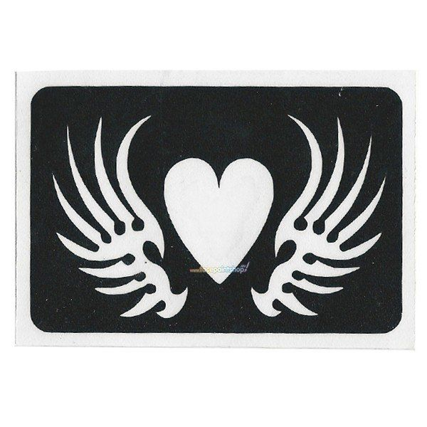 Glittertattoo Sjabloon Winged Heart (5 pack)