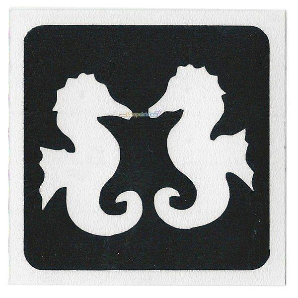 Glittertattoo Sjabloon Twin Seahorse (5 pack)
