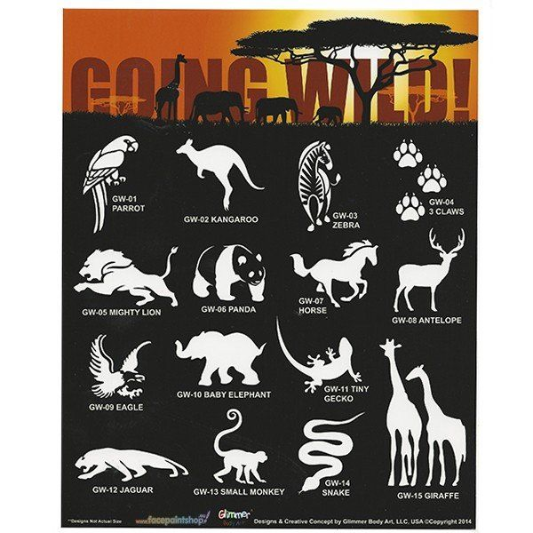Glimmer Going Wild Stencil Set with poster