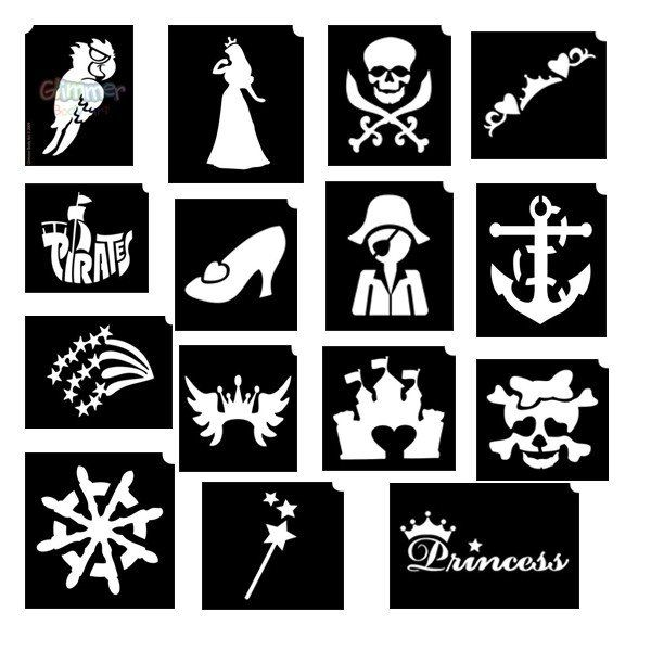 Glimmer Princess & Pirates Stencil Set with poster