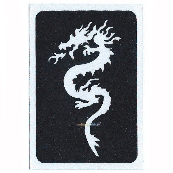 Glittertattoo Sjabloon Zen Dragon (5 pack)