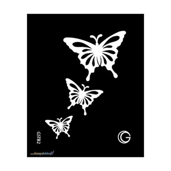 Cascading Butterflies Zwarte Tattoo Sjabloon