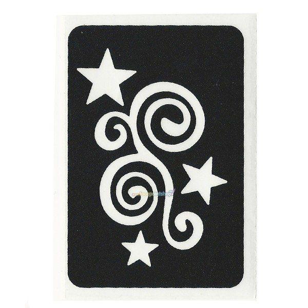 Glittertattoo Stencil Star Swirl (5 pack)