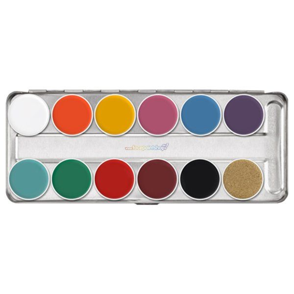 Kryolan Supracolor Greasepaint Palette 12 colors