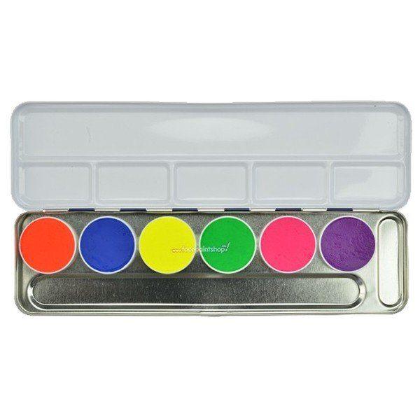 Kryolan Aquacolo 6 UV-Dayglow Palette