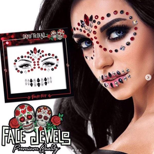 Halloween Face Jewels Day Of Dead