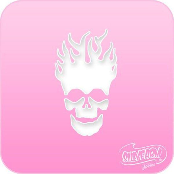 Facepaint Stencil Sillyfarm Flaming Skull